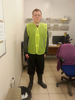 LEAP Student Jack wearing Personal Protective Equipment whilst on his placement
