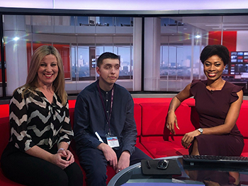 Jordan sat with two BBC Midlands Today presenters
