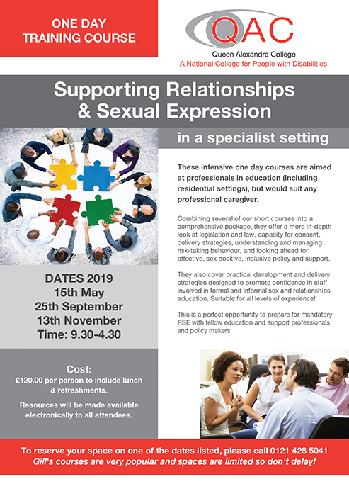 Supporting Relationships and Sexual Expression PSHE Training flyer