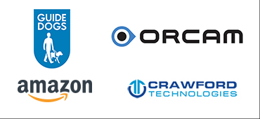 Guide Dogs, Orcam, Amazon and Crawford Technologies logos