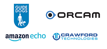 Guide Dogs, Orcam, Amazon Echo and Crawford Technologies Logos