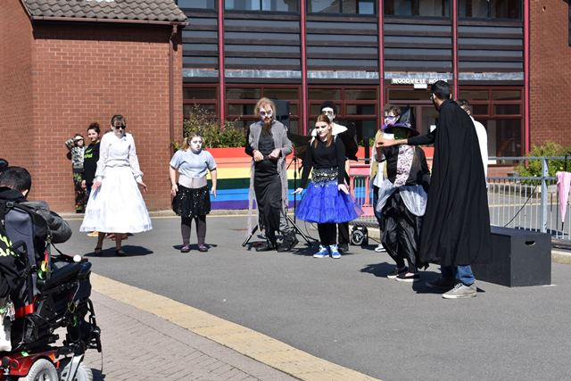 Performing Arts students lead a rendition of 'Monster Mash'