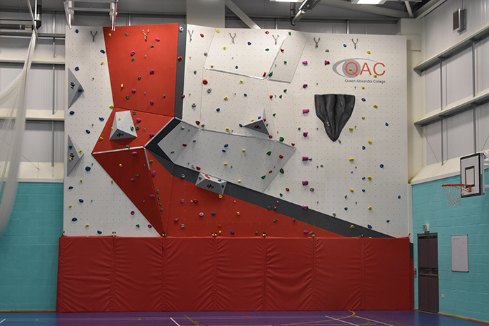 A picture showing the new climbing wall in its finished state
