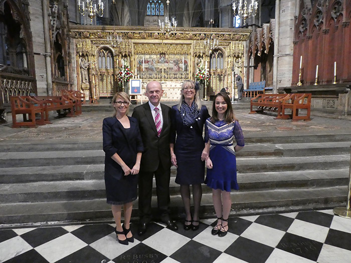 4 members of QAC staff at Westminster Abbey for the DofE anniversary