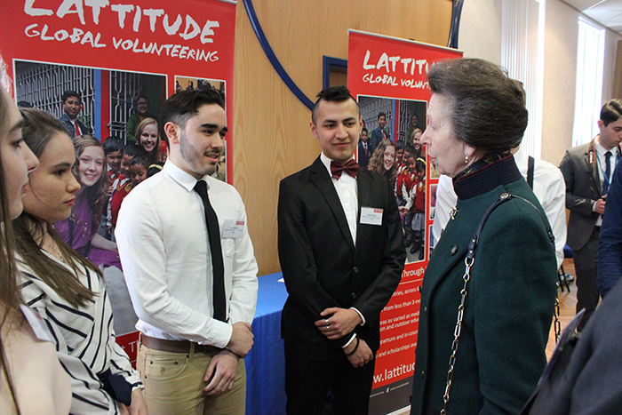 HRH The Princess Royal meeting volunteers from Lattitude Global Volunteering during her visit