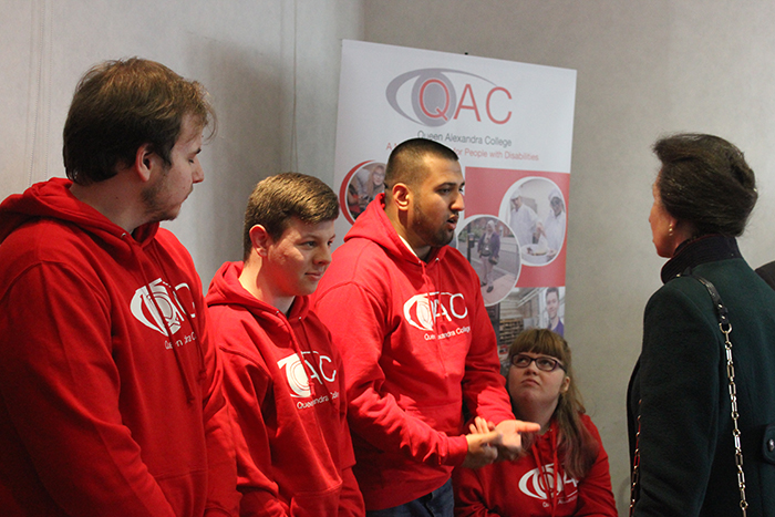 HRH The Princess Royal speaking with QAC's Student Ambassadors