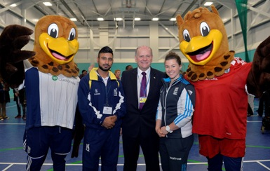 Ateeq Javid, Tammy Beaumont and the WBA mascots with Hugh Williams