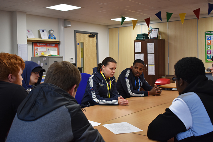 Kelly and Mikail speak to Sport students
