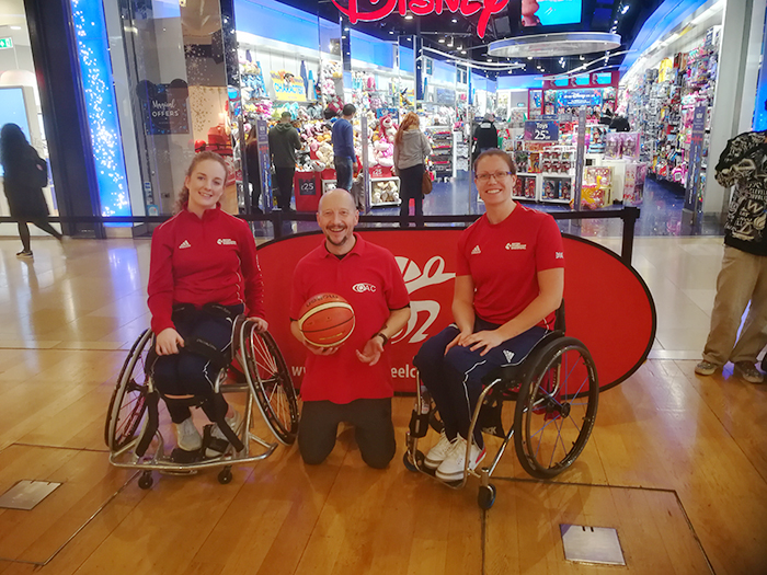 QAC LSA Andy with 2 British Wheelchair Basketball representatives during Purple Tuesday at the Bullring