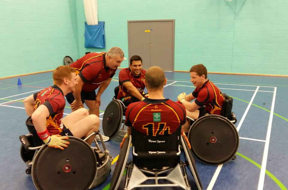 Team talk before wheelchair rugby game