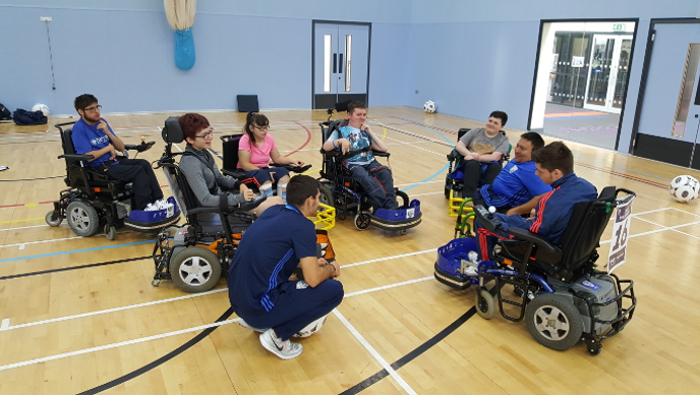 QAC students during their Powerchair Football training