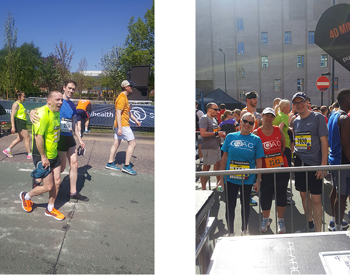 Picture of 2 male Team QAC members taking part in the 10k on the left and on the right 3 Team QAC members posing for a photo at the run