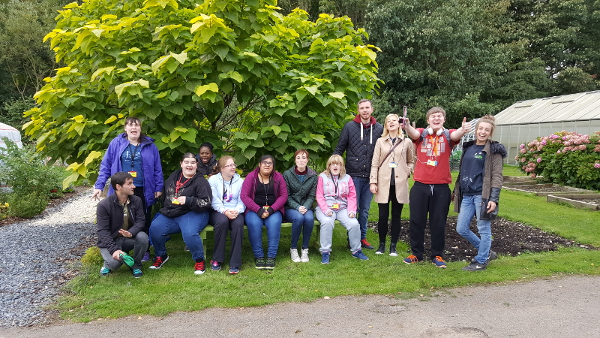 Student group at Umberslade Nurseries posing for a photo