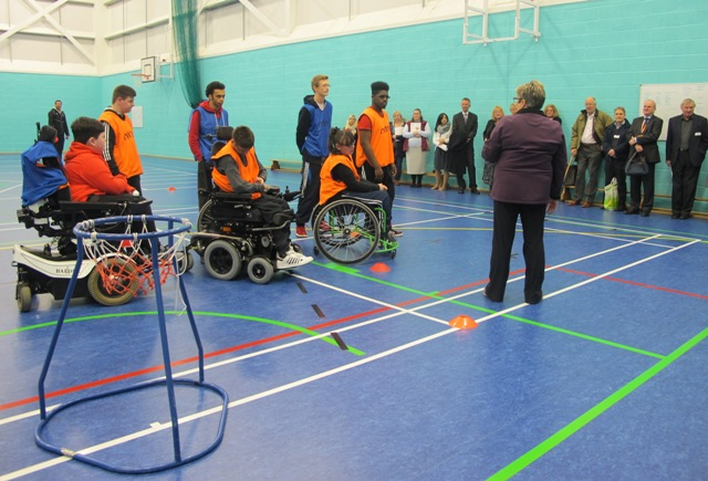 QAC students deliver a wheelchair basketball demonstration in the Bradbury Sports Hall