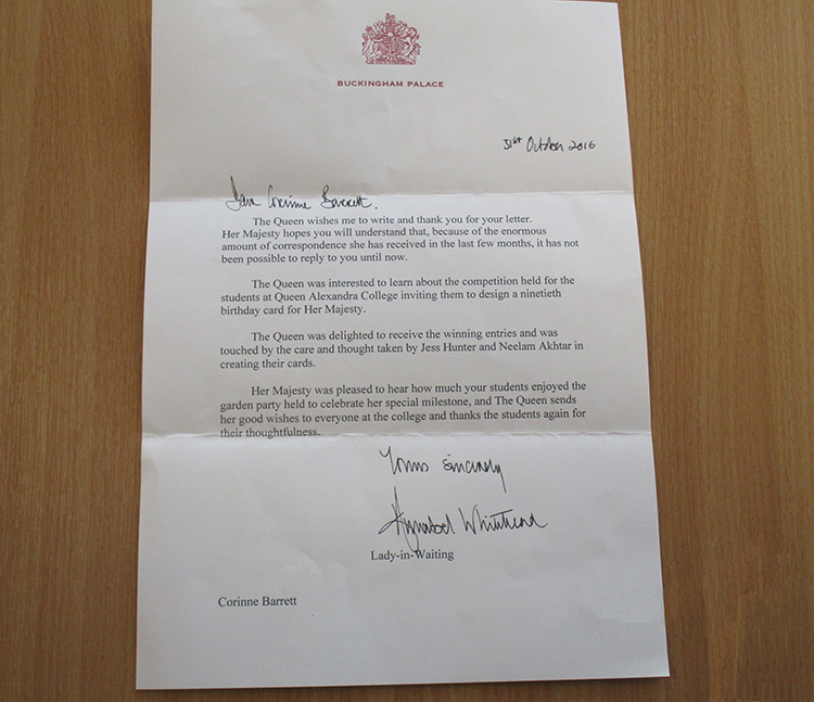 Thank You letter from the Queen