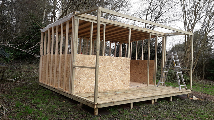 Umberslade's Outdoor Learning Shelter pictured whilst still under construction