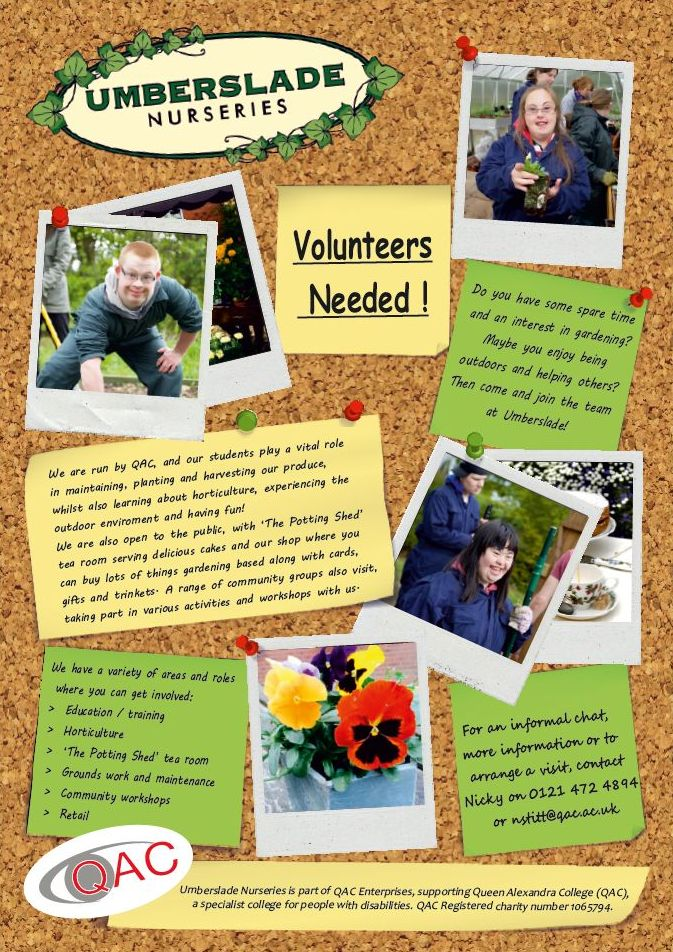 Volunteers Needed at Umberslade Nurseries poster