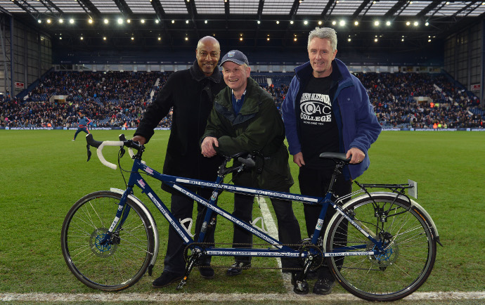 West Bromwich Albion themed tandem presented to Blind Dave Heeley