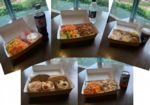 A selection of takeaway lunch options in boxes