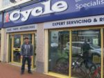 New iCycle manager, Sat, outside his store
