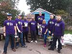 A group of The West Brom employees supporting with tasks at Umberslade Nurseries